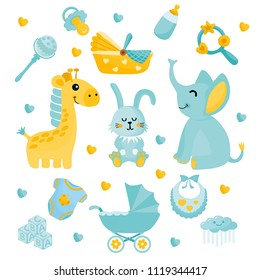 Baby Shower set. Cute illustration with baby items. Collection with giraffe, rabbit, elephant, cradle, clothes, nipple and other elements.