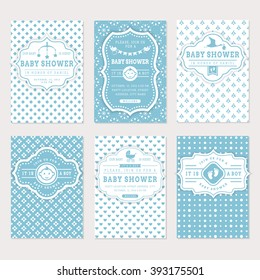 Baby Shower Set. Cute Invitation Cards For Boy Baby Shower Party. Vector  Collection On