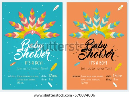 Baby shower set cute invitation cards stock vector royalty free baby shower set cute invitation cards design for baby shower party with illustration of headdress filmwisefo
