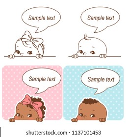 Baby shower set. Baby girl and baby boy with blank text bubble. Say hello mom or day. It's a boy, it's a girl card. Dark skin children. Ethnic baby. Color and monochrome outline vector illustration.