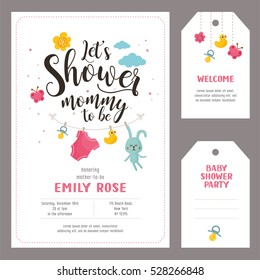 Baby shower set. Invitation template with hand lettering, cute rabbit and clouds. Labels with letters and kids illustration.