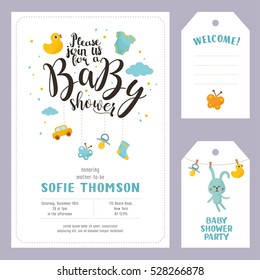 Baby shower set. Invitation template with hand lettering, cute toy car and clouds. Labels with letters and kids illustration.