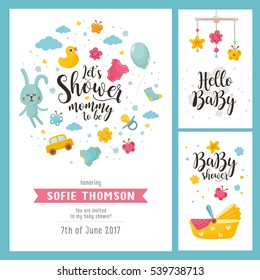 Baby shower set. Invitation template with hand lettering, cute rabbit and baby cradle. Labels with letters and kids illustration.