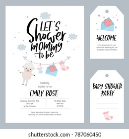 Baby shower set. Invitation template with hand lettering, cute sheep and baby equipment. Labels and tags with letters and kids illustration.