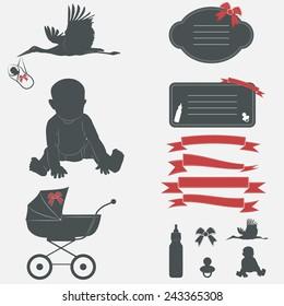 Baby shower set. Silhouette design elements, designers toolkit. Made vector illustration