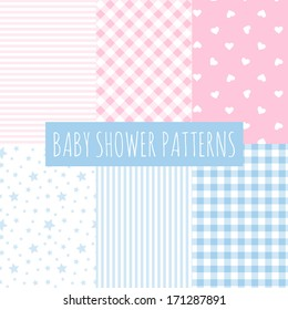 Baby shower: set of vector seamless backgrounds. Design for fabric and decor.