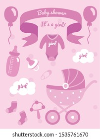 Baby Shower Set.Pink set for baby.Feeding bottle, baby stroller, socks, baby clothes
