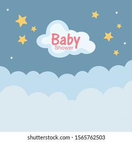 baby shower soft clouds stars vector illustration