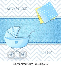 Baby Shower with stroller and swaddling clothes on background denim texture