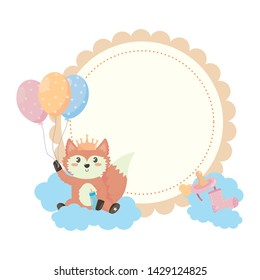 baby shower symbol and fox design