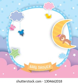 Baby shower template design with sleeping bear on moon decorated with cloud, heart, star,dress and toy for frame on blue sky background.