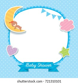 Baby shower template design with sleeping bear on moon decorated with cloud, heart, star and bunting to frame on blue polka dot background.
