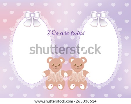 Baby Shower Twins Frame Bears On Stock Vector Royalty Free