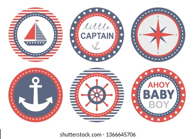 Baby Shower Vecor Party Tags. Nautical Round Shape Stickers. Ship, Anchor and Helm Design. Ahoy Baby Boy. Little Captain Party. Lovely Nursery Art. Baby Shower Do It Yourself Candy Bar Decoration Set.