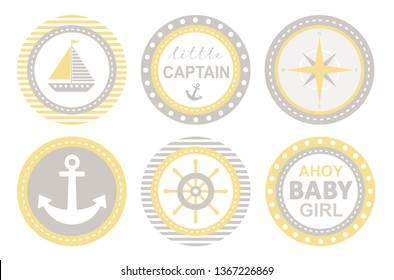 Baby Shower Vecor Party Tags. Nautical Round Shape Stickers. Ship, Anchor and Helm Design. Ahoy Baby Girl. Little Captain Party. Lovely Nursery Art.Baby Shower Do It Yourself Candy Bar Decoration Set.