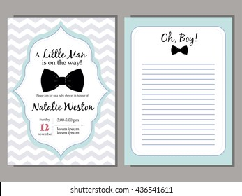 Baby shower vector blue invitation template for boys- My little man.