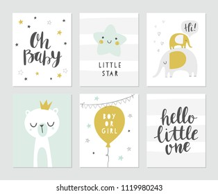 Baby shower vector card designs. Set of cute illustrations, elephants, bear, star, balloon, modern brush calligraphy phrases - oh baby, hello little one. Invitations, greeting card, posters.