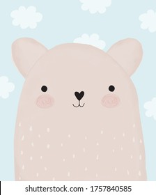 Baby Shower Vector Illustration with Sweet Little Bear. Lovely Brown Baby Bear and Light Blue Fluffy Clouds on a Pastel Blue Background.Baby Boy and Girl Room Decoration. Watercolor Style Nursery Art.