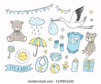 Baby shower vector illustrations set. Hand drawn newborn boy items and elements. Invitations, cards, nursery decor.
