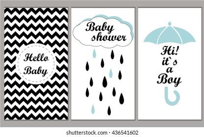 Baby shower vector set invitation template for boys. Hello Baby! Hi! It`s myboy! Vector illustration chevron disign.