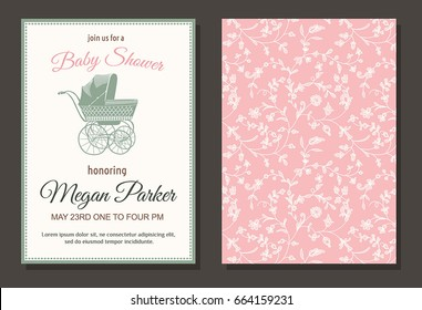 Baby shower vintage invitation, template card