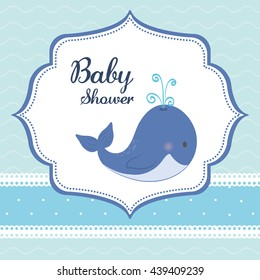 Baby Shower. whale.  Pastel design. vector graphic