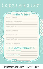 Baby Shower Wish and Advice Classic Aqua