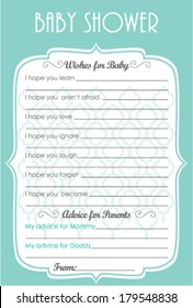 Baby Shower Wish and Advice Elegant Aqua