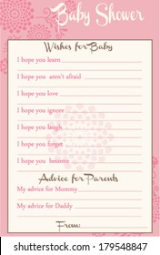 Baby Shower Wish and Advice Round Flowers