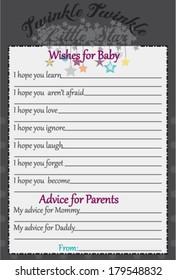 Baby Shower Wish and Advice Twinkle Star