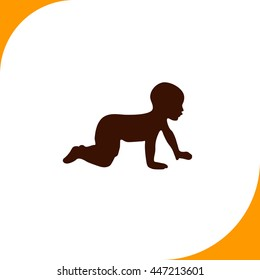 Baby sign. Brown icon on white background