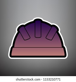Baby sign illustration. Vector. Violet gradient icon with black and white linear edges at gray background.