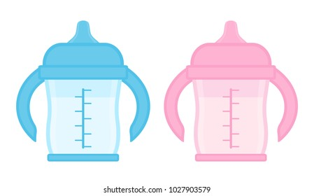 Baby sippy cup, blue and pink, isolated on white background. Vector illustration of toddler feeding equipment for baby boy and girl.