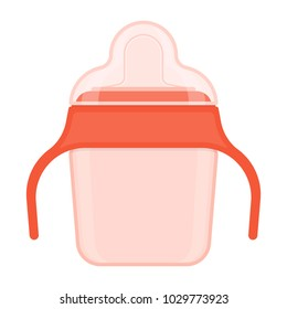 Baby sippy cup with cover isolated on white background. Vector illustration of toddler feeding equipment. Baby care supplies