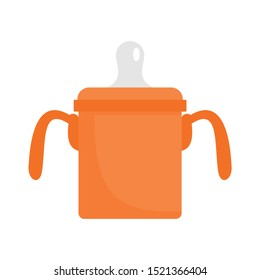 Baby sippy cup icon. Flat illustration of baby sippy cup vector icon for web design