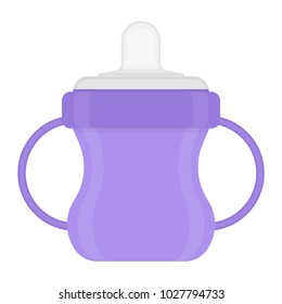 Baby sippy cup isolated on white background. Vector illustration of toddler feeding equipment. Baby care supplies