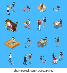 Baby sitter during child care, parents leaving for work, isometric people on blue background isolated vector illustration