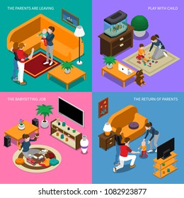 Baby sitter job, parents leaving and returning home, nanny plays with child, isometric concept isolated vector illustration