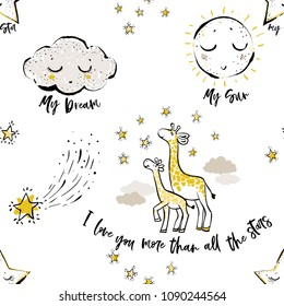 Baby sky seamless pattern background with cloud, sun, crescent moon, giraffe family, doodle stars. Hand drawn illustration in watercolor scandinavian style. Black, yellow graphic on white background.