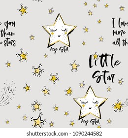 Baby sky seamless pattern background with cute star, motivational texts, doodle stars. Doodle hand drawn illustration in watercolor scandinavian style. Black, yellow, gray graphic on white background.