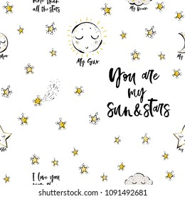 Baby sky seamless pattern background with cloud, star, sun, crescent, motivational text. Doodle hand drawn illustration in watercolor Scandinavian style. Black, gold yellow graphic on white background