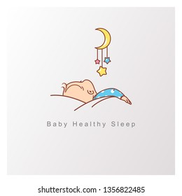 Baby sleep logo template. Healthy baby sleep at night. Child sleep on pillow under blanket, crib with mobile. View from back. Toy hang over sleeping baby. Design template. Color vector illustration.