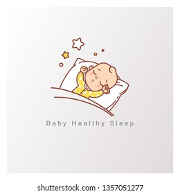 Baby sleep logo template. Healthy baby sleep at night. Child sleep on pillow under blanket, stars above. Hands up, Toy hang over sleeping baby. Design template. Color vector illustration.