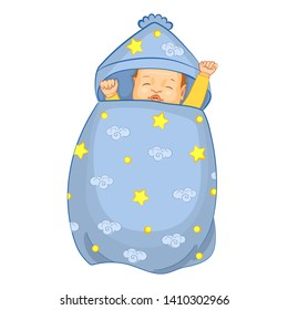 Baby sleeping in a sleeping bag. Realistic cartoon Vector illustration with a newborn baby in cocoon. Pattern with cartoon stars, clouds.