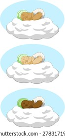 Baby sleeping on cloud, multiple races