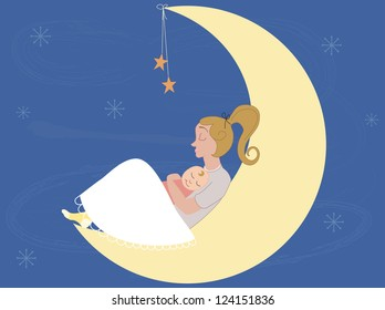 Baby sleeping on his mother arms in the moon