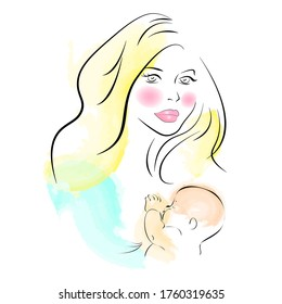 Baby sleeps with mom in bed. A woman breastfeeds a child. watercolor lineart. vector ilustracation. Mother's Day. the benefit of breast milk.