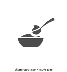 Baby spoon and bowl full of meal vector icon isolated. Baby spoon and bowl full of meal icon. Baby spoon and bowl icon for infographic, website or app