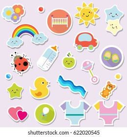 Baby stickers. Kids, children design elements for scrapbook. Decorative vector icons with toys, clothes, sun, rattle and other cute newborn babies symbols