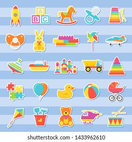 Baby stickers of toys. Vector. Kids toy isolated. Baby shower stuff in flat design. Colorful cartoon illustration. Set children icons on blue striped background.